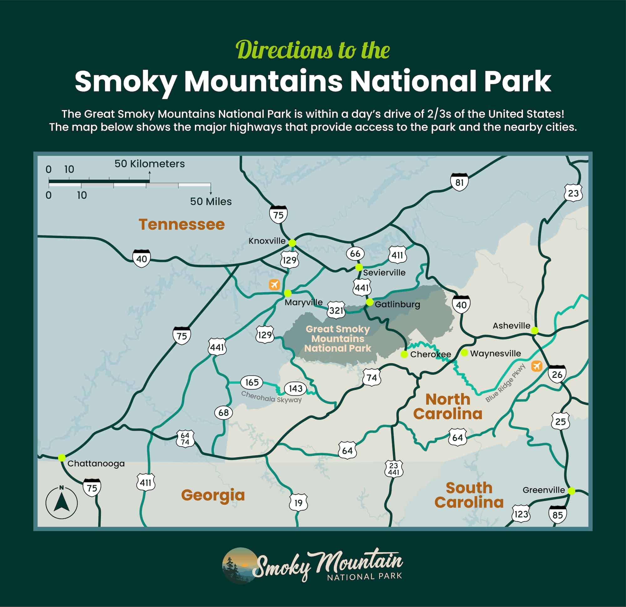 Map of directions to the Great Smoky Mountains National Park